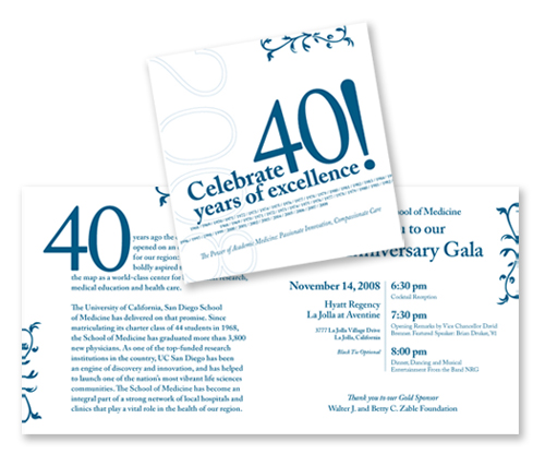 UCSD School of Medicine 40th Anniversary Invitation